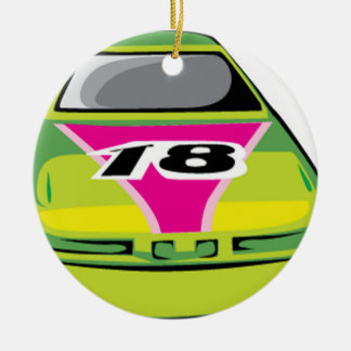 green race car christmas tree ornaments