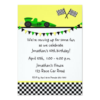 Green Race Car, Flags Birthday Invitation