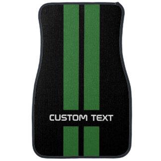 Green Racing Stripes Car Mats - with custom text