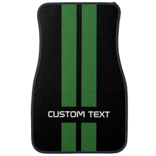 Green Racing Stripes Car Mats - with custom