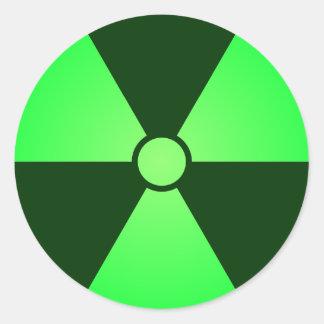 Green Radiation Symbol Round Sticker