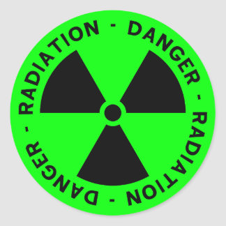 Green Radiation Warning Classic Round Sticker