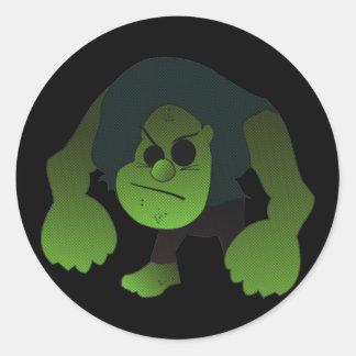 GREEN RAGE MAN ROUND STICKERS