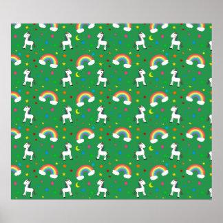 Green rainbow unicorn hearts stars pattern poster