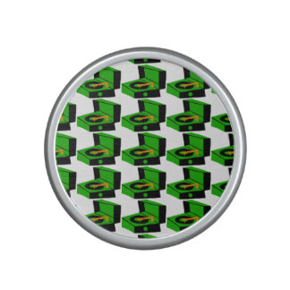 Green Record Player Houndstooth Bluetooth Speaker