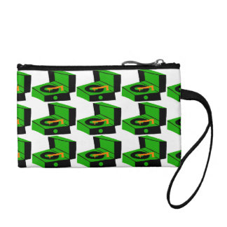 Green Record Player Houndstooth Key Coin Clutch Coin Wallets
