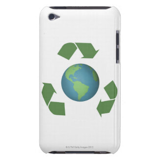 Green recycle arrows encircle the earth barely there iPod cover
