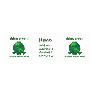 Green Recycle Frog Skinny Profile Card Pack Of Skinny Business Cards