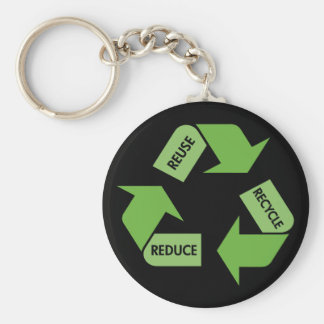 Green Recycle Reuse Reduce Basic Round Button Key Ring