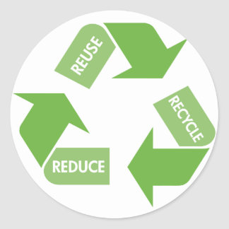 Green Recycle Reuse Reduce Round Stickers