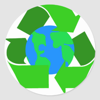 green recycle round sticker