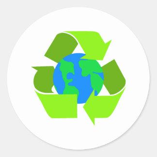 green recycle round sticker