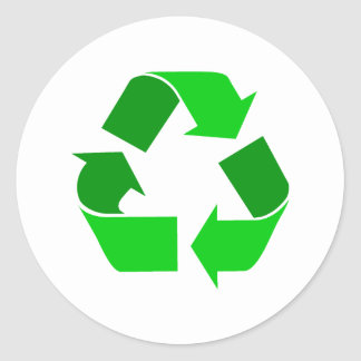 green recycle round stickers