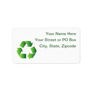 Green Recycle Symbol Address Label