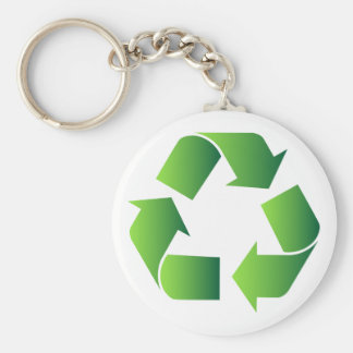 Green Recycle Symbol Basic Round Button Key Ring