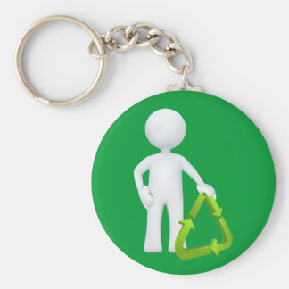 Green Recycle Symbol Keychain