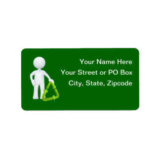 Green Recycle Symbol & Man Address Label