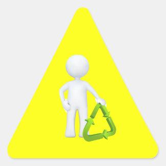 Green Recycle Symbol & Man Triangle Sticker