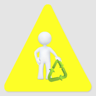 Green Recycle Symbol Man Triangle Stickers