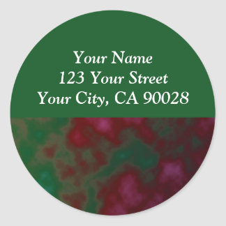 green red abstract round sticker