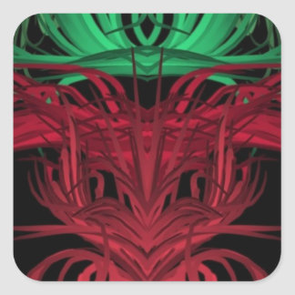 Green, Red and Black Abstract Square Sticker