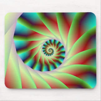 Green Red and Blue Spiral Steps Mouse Pad