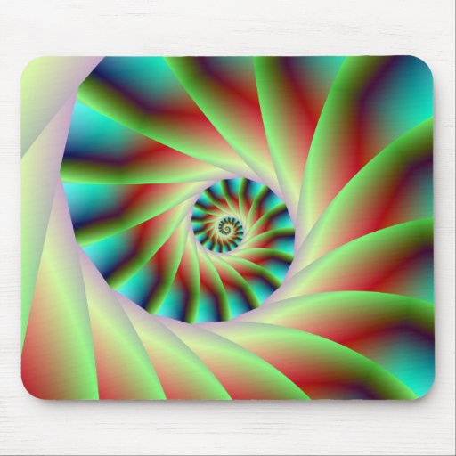 Green Red and Blue Spiral Steps Mouse Pads