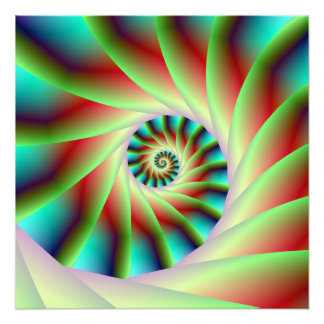 Green Red and Blue Spiral Steps Photo Print