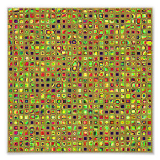 Green, Red And Gold Mosaic Textured Tiles Pattern Photo Art