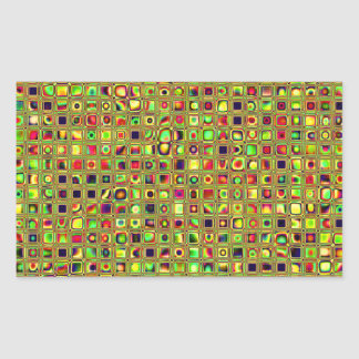 Green, Red And Gold Mosaic Textured Tiles Pattern Rectangular Sticker
