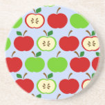 Green red apple pattern design beverage coasters