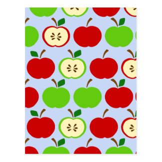 Green red apple pattern design post card