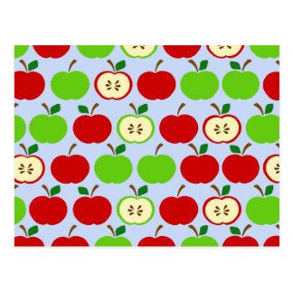 Green red apple pattern design postcard
