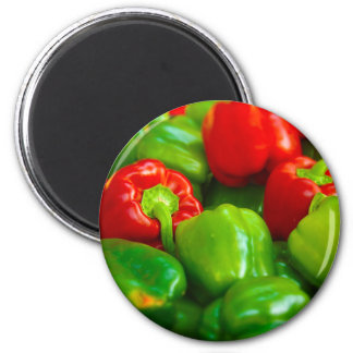Green Red Bell Peppers City Farmer's Market KC 6 Cm Round Magnet