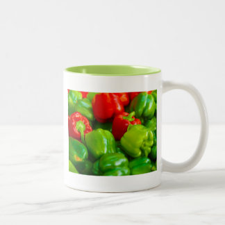 Green Red Bell Peppers City Farmer's Market KC Two-Tone Mug