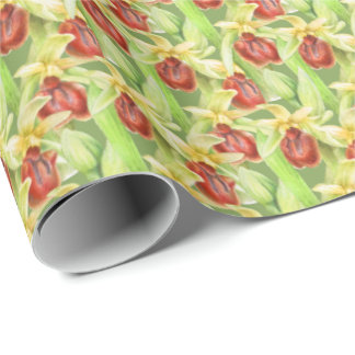 Green red botanica orchid watercolor art wrap wrapping paper