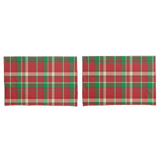 Green Red Christmas plaid pattern pillowcase
