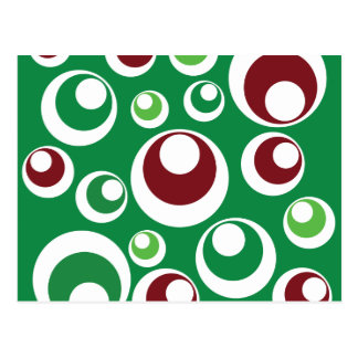 Green Red Festive Christmas Circles Dots Pattern Postcard