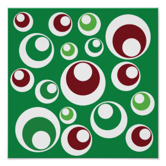 Green Red Festive Christmas Circles Dots Pattern Posters
