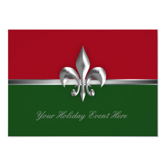 Green Red Fleur de Lis Holiday Event Card