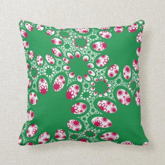 Green Red Flower Cushion