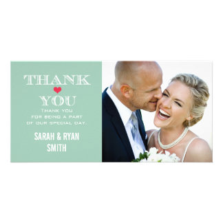 Green Red Heart Wedding Photo Thank You Cards