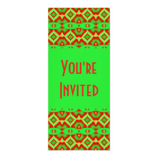 green red holiday pattern 4x9.25 paper invitation card