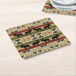 Green Red Ivory Ochre Ethnic Look Square Paper Coaster