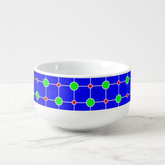 Green red on blue lattice soup bowl