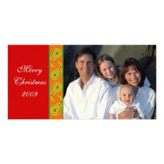 Green Red Orange Paisley Family Christmas Photo Card