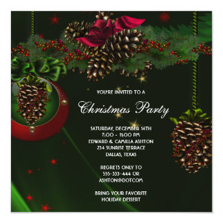 Green Red Pine Cones Elegant Christmas Party Card