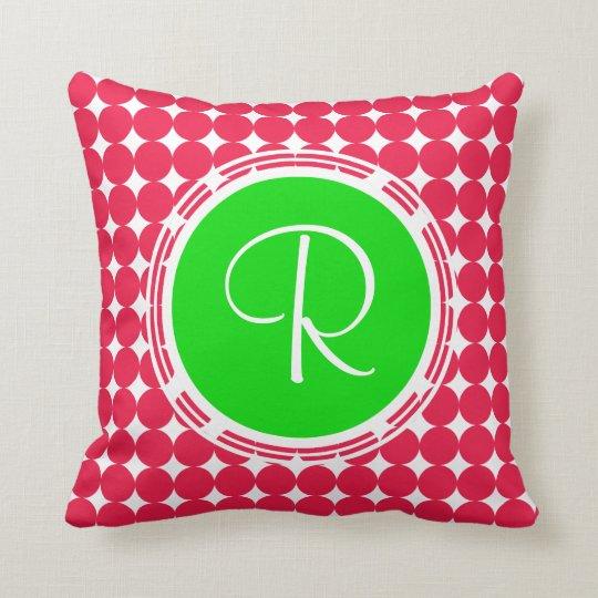 Green & Red Polka Dot Monogram Cushion