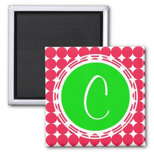 Green & Red Polka Dot Monogram Magnet