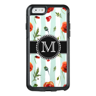 Green, Red Poppies, Flowers, Monogrammed OtterBox iPhone 6/6s Case